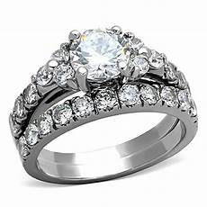 2 50 ct cut cz silver stainless steel wedding ring