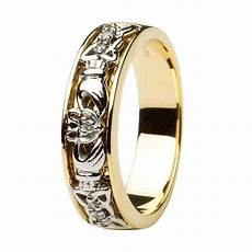 claddagh wedding ring two tone diamonds with