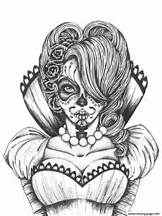 Ausmalbilder Erwachsene Totenkopf Sugar Skull Coloring Pages For Adults Coloring Home