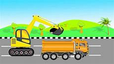 Mobil Truk Dan Beko Kartun Mengakut Pasir Untuk Anak