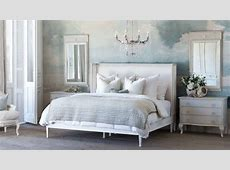 Cassia Bed in White Linen and Saltwater White Finish