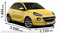 Dimensions Of Opel Vauxhall Cars Showing Length Width