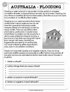 nature reading comprehension worksheets 15108 australia flooding 2pg world of science reading comprehension worksheets