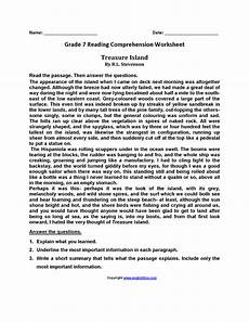 poetry comprehension worksheets for 7th grade 25251 treasure island seventh grade reading worksheets reading comprehension worksheets reading