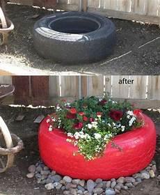 Alte Autoreifen Rot Streichen Und Bepflanzen Garten
