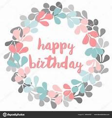 happy birthday watercolor vector laurel wreath white