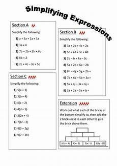 algebra simplify expressions worksheets 8391 simplifying expressions differentiated worksheet by fionajones88 teaching resources tes