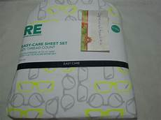 new re room essentials bed xl sheet glasses gray neon green ebay