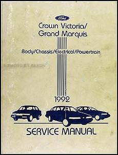vehicle repair manual 1992 mercury grand marquis on board diagnostic system 1992 ford crown victoria mercury grand marquis repair shop manual original