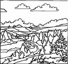 wolkige landschaft ausmalbild malvorlage landschaften