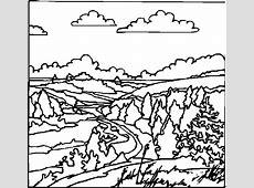 Wolkige Landschaft Ausmalbild & Malvorlage (Landschaften)