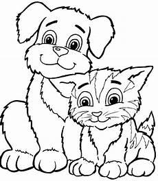 ausmalbilder katze bild mit seinem freund den hund
