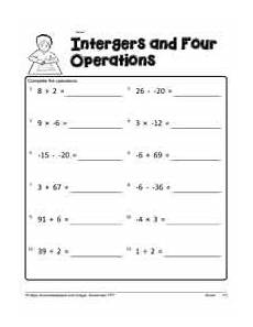 mixed operations with integers worksheets