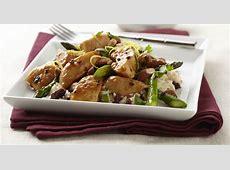 lemon hoisin glazed chicken on roasted asparagus cherry rice_image