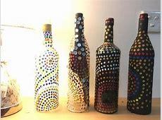 DIY Easy Bottle Decoration Using Cotton Swab and Acrylic