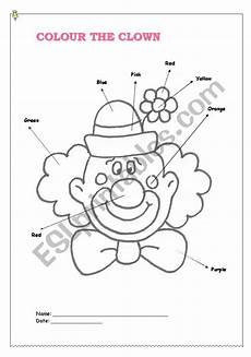colour the clown esl worksheet by leticiaa