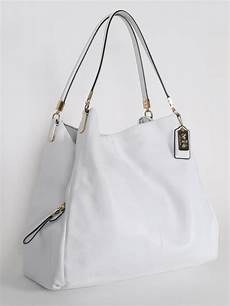 coach pohoebe white leather shoulder bag