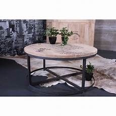 Table Salon Ronde Table Basse Acier Bois Maisonjoffrois