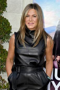 jennifer aniston brings the wow factor in leather mini