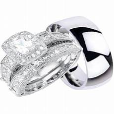 laraso co his and hers wedding ring sets silver