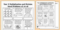 year 3 division worksheets 6441 year 3 multiplication division word problems x3 x4 x8 worksheet
