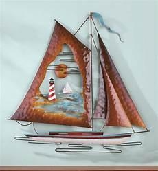 nautical sailboats metal and wooden wall sculpture