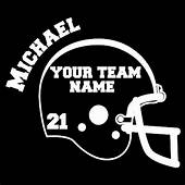 Custom Vinyl Football Helmet With Name Team &  Car