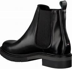 schwarze hilfiger chelsea boots metallic leather