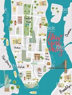 Stadtplan New York - illustrated map of new york city stock illustration