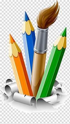 four assorted color pencils art pencil drawing brush paint brush paint transparent background