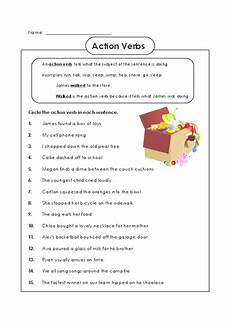 94 worksheets for kids action verbs