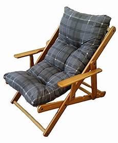fauteuil relax en bois 3 pliable avec coussin