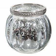 Photophore Rond En Verre Argent H 8 Cm Antic Silver