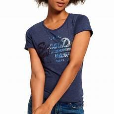 shirt femme t shirt femme superdry vintage logo sequin bleu