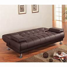 brown faux leather sofa bed by coaster furniture