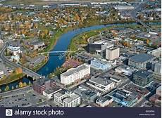 Luftaufnahme Alaska Fairbanks Stadt An Den Ufern Des