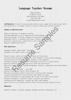 resume sles language teacher resume sle