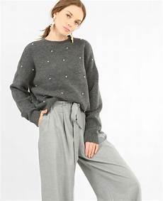 Pullover Mit Perlen Gris 403985830j28 Pimkie