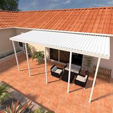 integra 8 ft 22 ft white aluminum attached solid patio cover with 5 posts maximum roof load