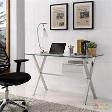 glass home office furniture stasis modern glass top steel office desk with walnut
