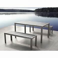 table de jardin moderne table de jardin aluminium gris plateau en polywood 180