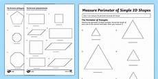measurement perimeter worksheets 1573 year 3 measuring the perimeter of simple 2d shapes differentiated worksheet