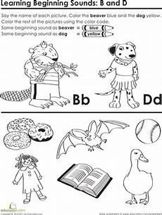letter d beginning sound worksheets 24195 beginning sounds b and d worksheet education