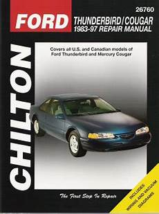 how make cars 1997 mercury cougar user handbook 1983 1997 ford thunderbird mercury cougar chilton s total car care manual