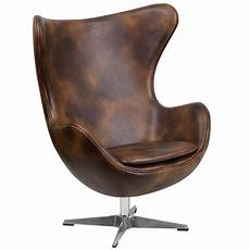 Flash Furniture Bomber Jacket Brown Leather Egg Chair With