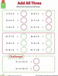 1st grade math worksheet adding 3 numbers add all three adding three numbers worksheet