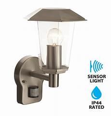 modern brushed stainless steel ip44 pir motion sensor outdoor garden wall light ebay