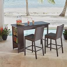 bar set hton bay rehoboth 3 piece wicker outdoor bar height