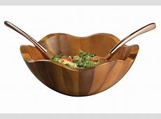 Nambe Copper Canyon Wooden Salad Bowl with Copper Servers
