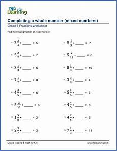 grade 5 fractions worksheets completing whole numbers k5 learning